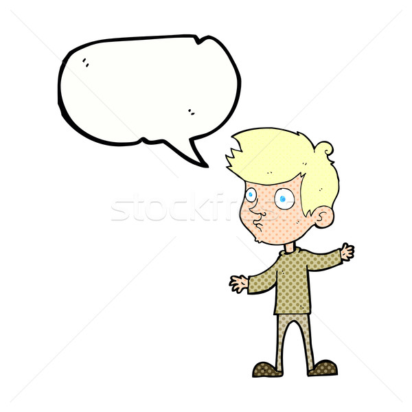 Cartoon curioso nino bocadillo mano hombre Foto stock © lineartestpilot