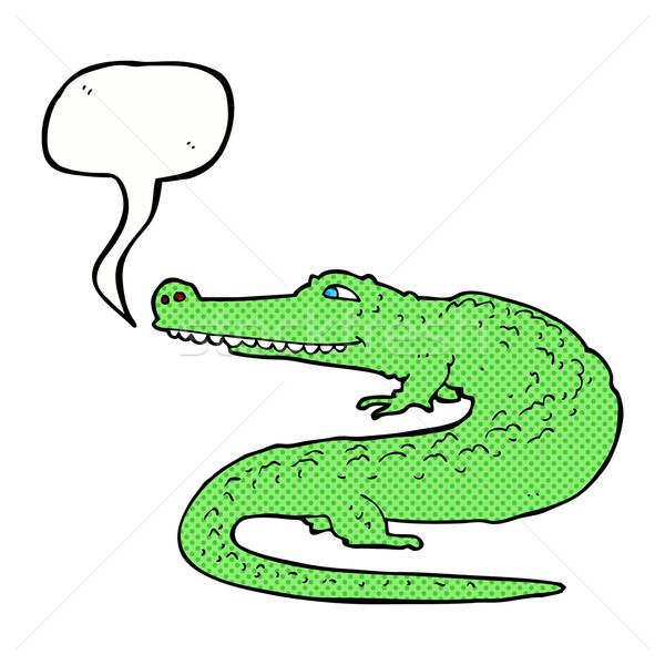 Cartoon крокодила речи пузырь стороны дизайна животные Сток-фото © lineartestpilot