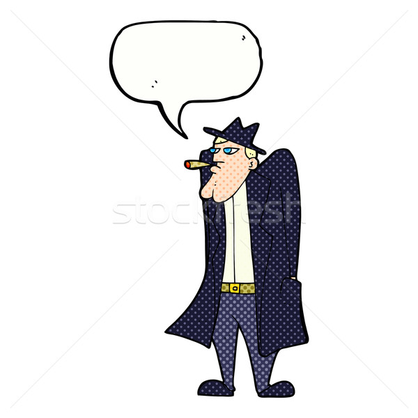 cartoon man in hat and trench coat with speech bubble Stock photo © lineartestpilot