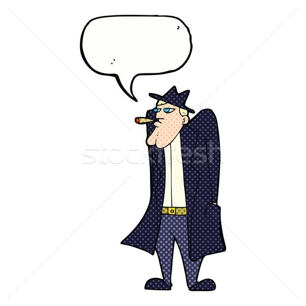 漫画 男 帽子 トレンチ コート 吹き出し ストックフォト © lineartestpilot