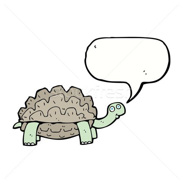 Cartoon черепаха речи пузырь стороны дизайна животные Сток-фото © lineartestpilot