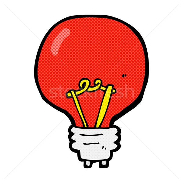 comic cartoon red light bulb Stock photo © lineartestpilot