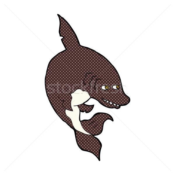 Drôle dessinées cartoon requin rétro Photo stock © lineartestpilot