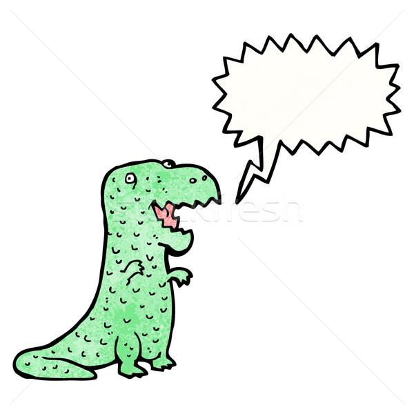 Dostça Dinozor Karikatür Konuşma Retro çizim Vektör