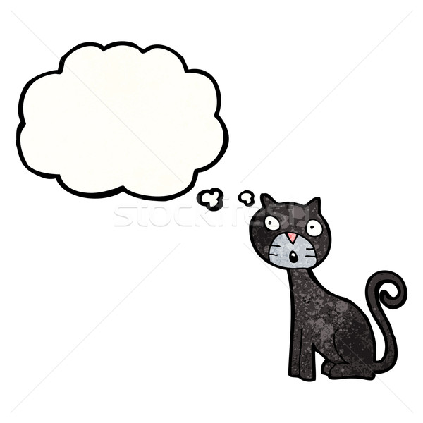 漫画 黒猫 思考バブル 猫 レトロな 図面 ストックフォト © lineartestpilot