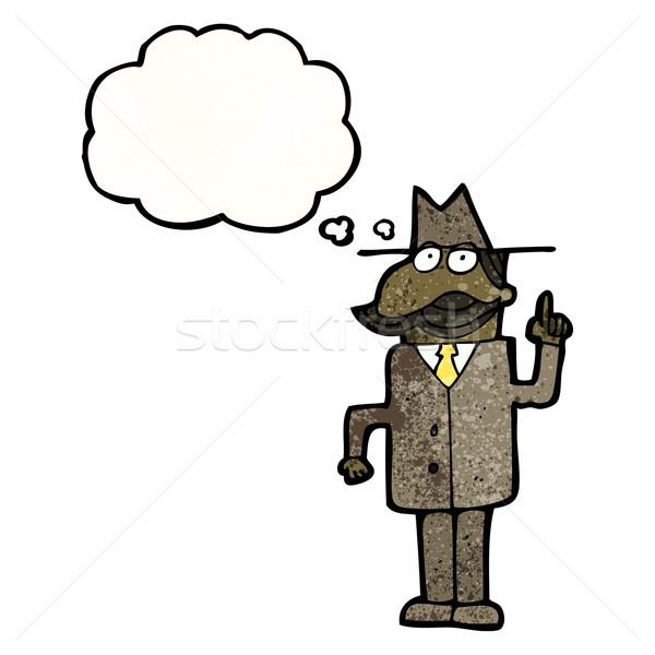 Cartoon detective retro tekening mannelijke idee Stockfoto © lineartestpilot