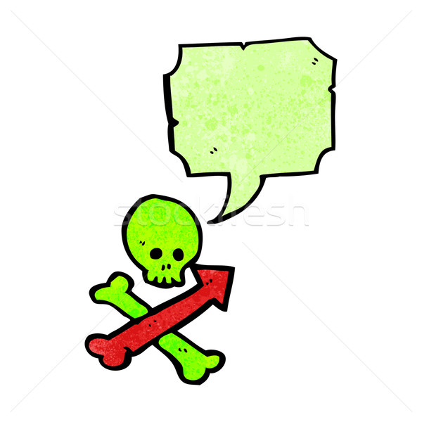cartoon skull and crossbones with direction arrows Stock photo © lineartestpilot
