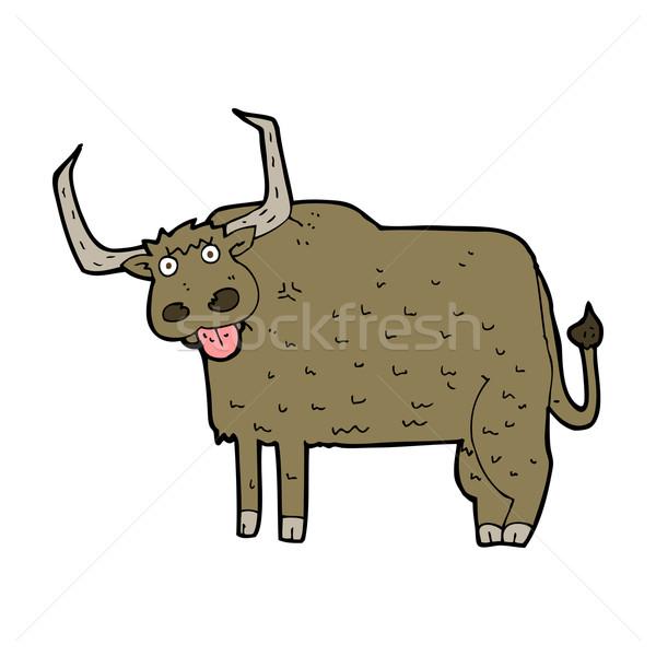 Cartoon волосатый корова дизайна искусства фермы Сток-фото © lineartestpilot