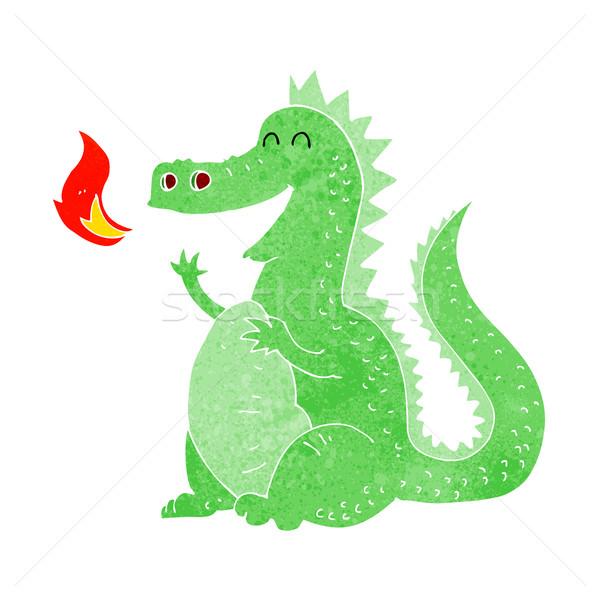 Cartoon огня дыхание дракон стороны дизайна Сток-фото © lineartestpilot