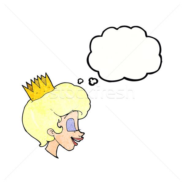 Cartoon Принцесса мысли пузырь стороны лице дизайна Сток-фото © lineartestpilot