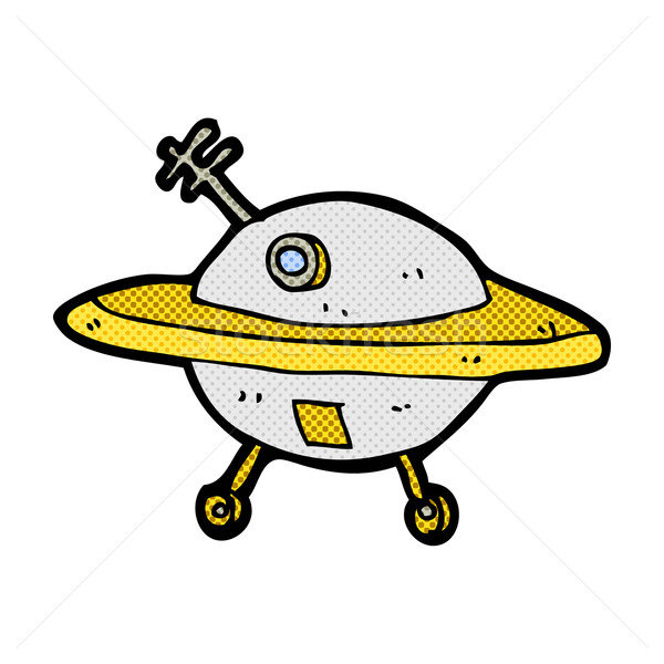 comic cartoon flying saucer Stock photo © lineartestpilot