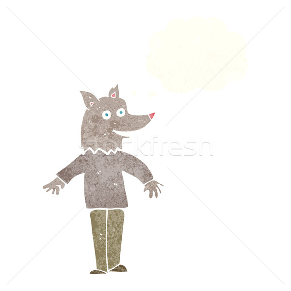 cartoon happy werewolf with thought bubble Stock photo © lineartestpilot