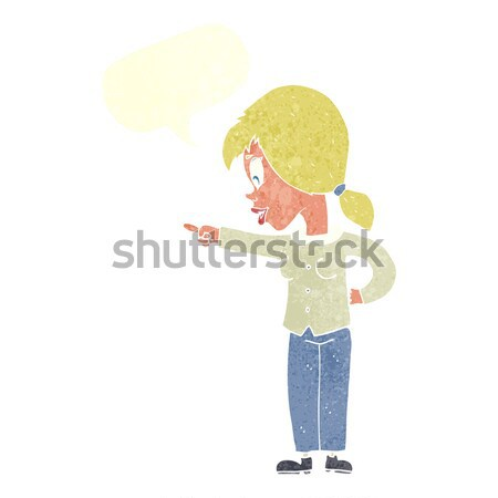 cartoon enthusiastic woman pointing with thought bubble Stock photo © lineartestpilot