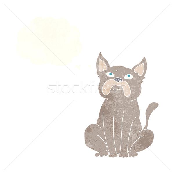 Cartoon knorrig weinig hond gedachte bel hand Stockfoto © lineartestpilot