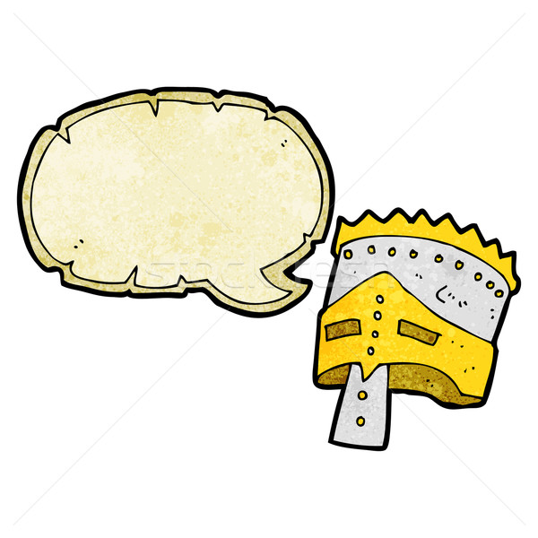 Stock photo: cartoon king's armor with speech bubble