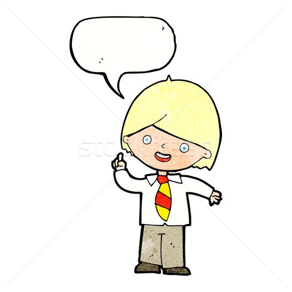 cartoon school boy answering question with speech bubble Stock photo © lineartestpilot