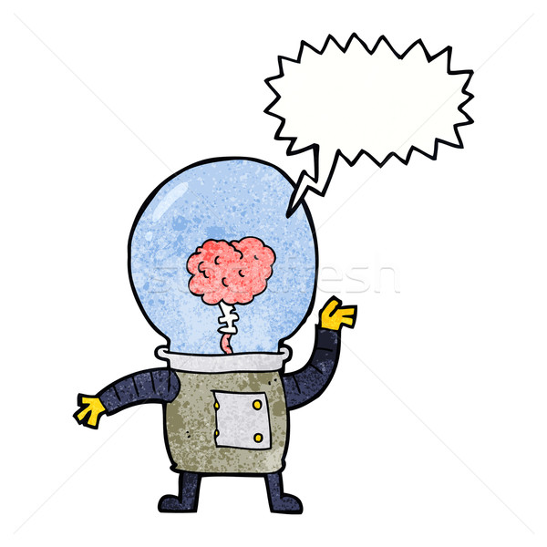 Cartoon robot cyborg tekstballon hand ontwerp Stockfoto © lineartestpilot