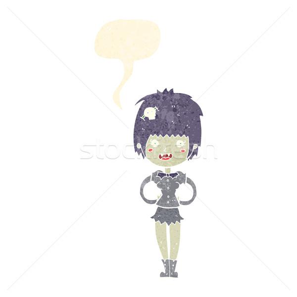 Desenho animado feliz vampiro menina balão de fala mulher Foto stock © lineartestpilot