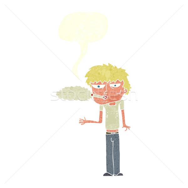 Karikatür sigara tiryakisi konuşma balonu kadın el dizayn Stok fotoğraf © lineartestpilot