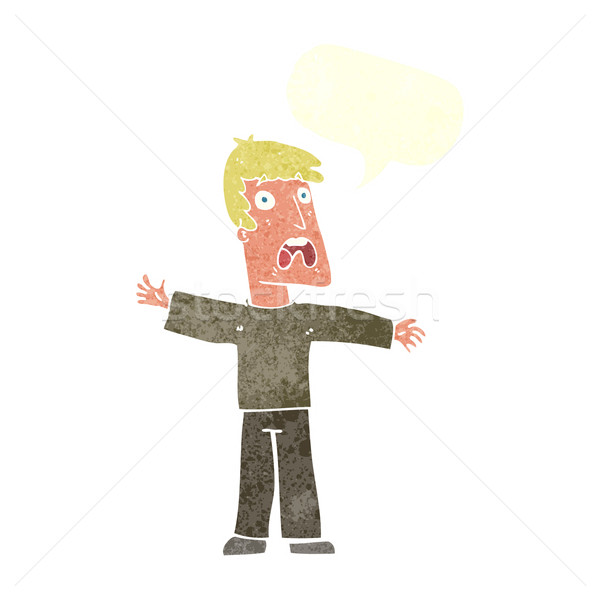 cartoon frightened man with speech bubble Stock photo © lineartestpilot