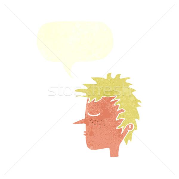 cartoon male face with speech bubble Stock photo © lineartestpilot