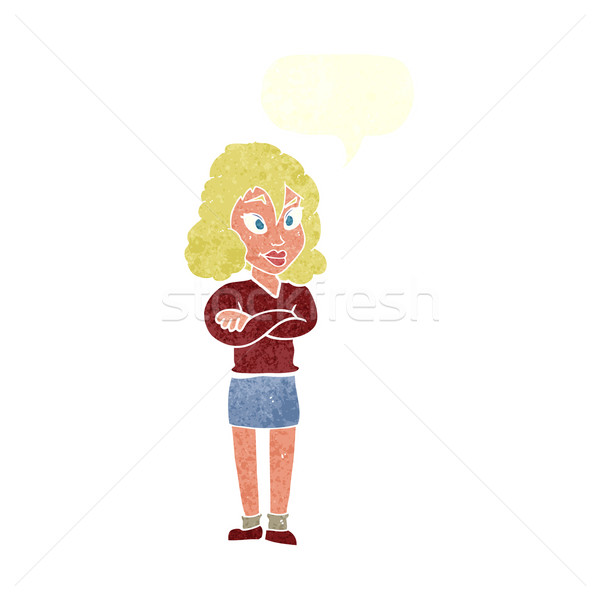 cartoon woman with crossed arms with speech bubble Stock photo © lineartestpilot