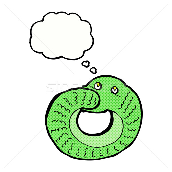 cartoon snake eating own tail with thought bubble Stock photo © lineartestpilot