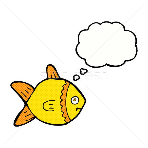 Cartoon pesce bolla di pensiero mano design arte Foto d'archivio © lineartestpilot