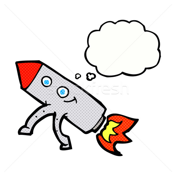 cartoon happy rocket with thought bubble Stock photo © lineartestpilot