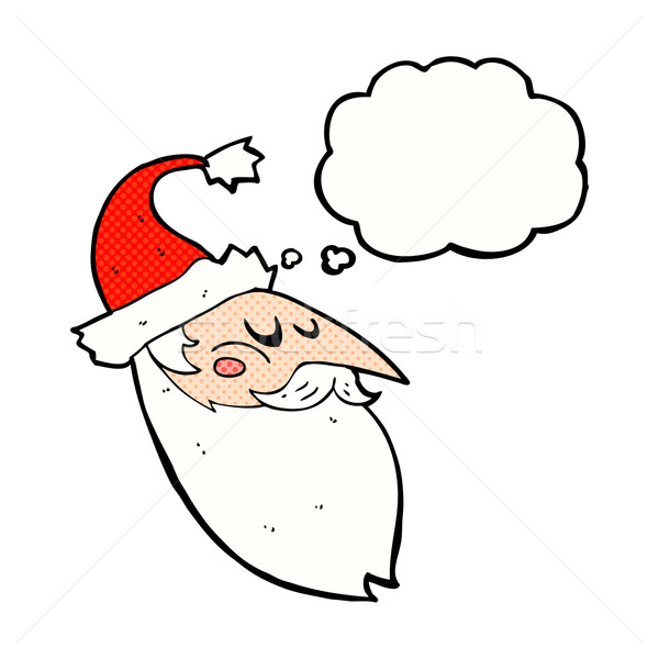 cartoon santa face with thought bubble Stock photo © lineartestpilot