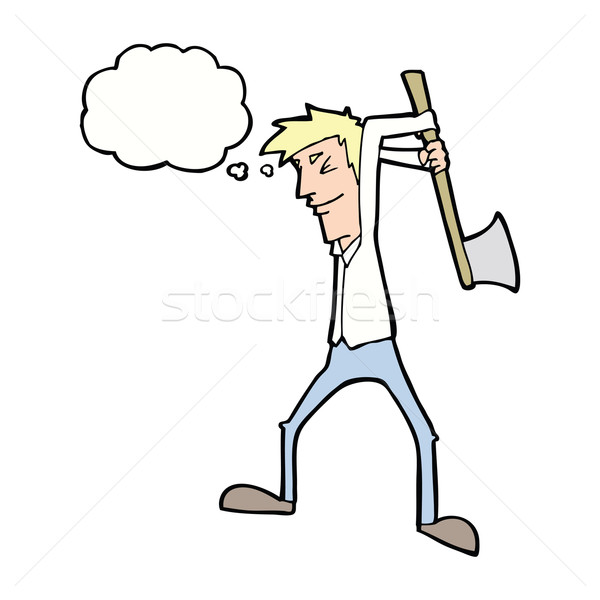 cartoon man swinging axe with thought bubble Stock photo © lineartestpilot