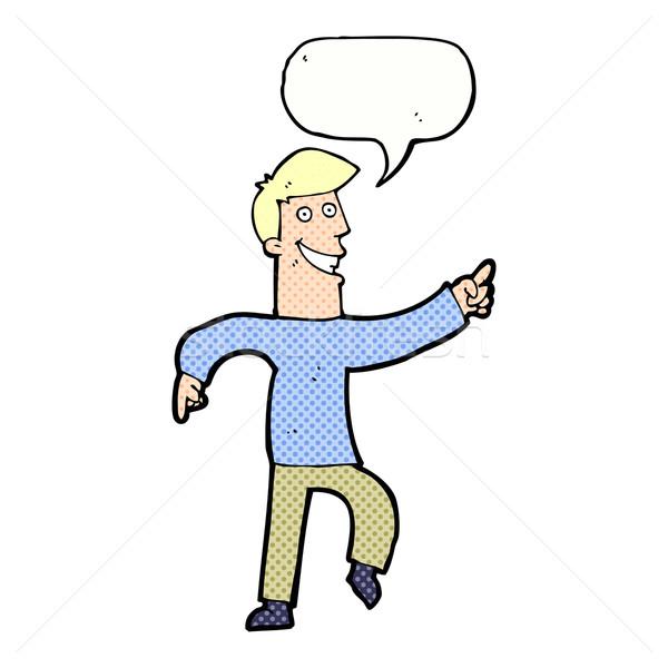 Karikatur grinsend Mann Sprechblase Hand glücklich Stock foto © lineartestpilot