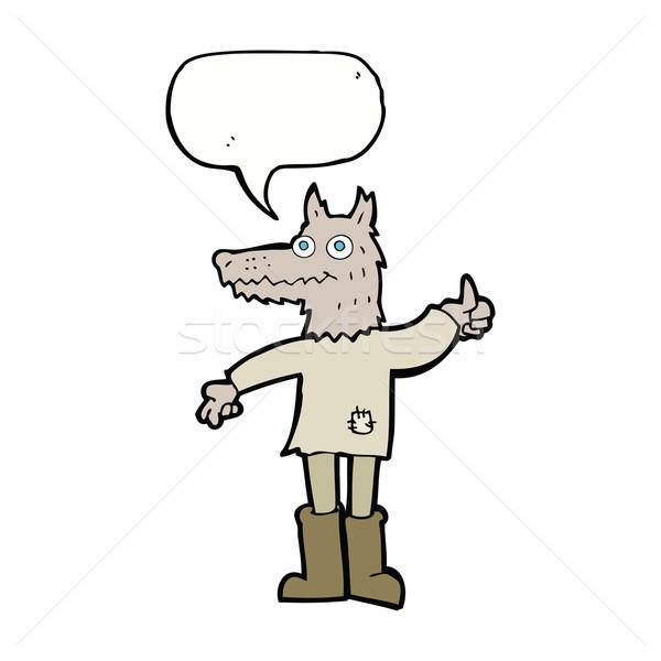 Desen animat lup om bule de vorbire mână proiect Imagine de stoc © lineartestpilot