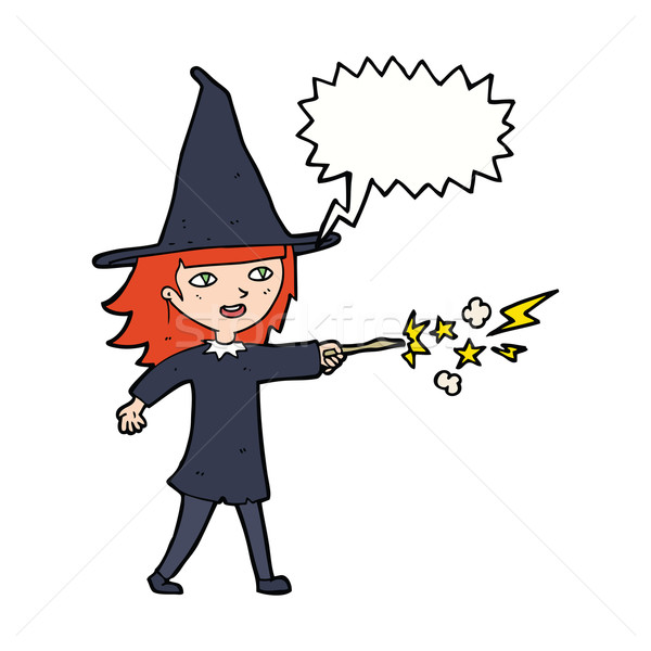 cartoon witch girl casting spell with speech bubble Stock photo © lineartestpilot