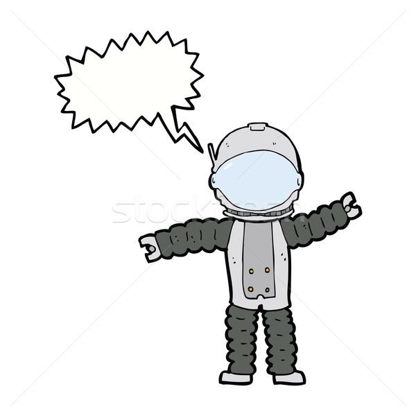 Cartoon astronauta dymka strony projektu crazy Zdjęcia stock © lineartestpilot