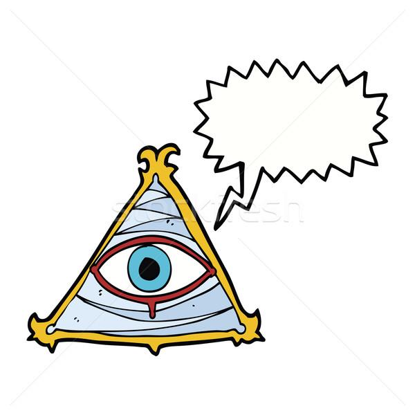 Cartoon мистик глаза символ речи пузырь стороны Сток-фото © lineartestpilot