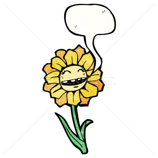 cartoon flower with speech bubble vector illustration
