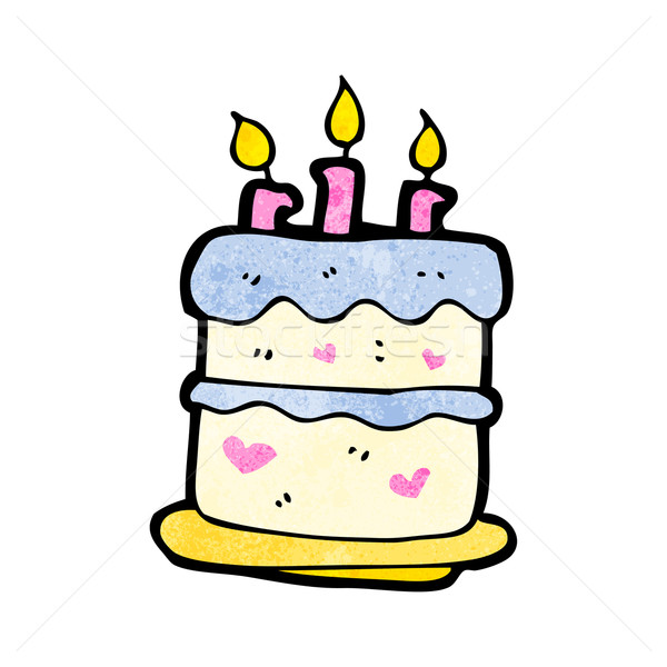 cartoon · gâteau · d'anniversaire · anniversaire · art · rétro