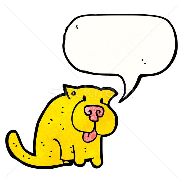 Cartoon собака речи пузырь ретро рисунок сидят Сток-фото © lineartestpilot