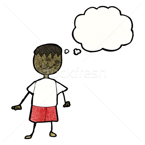 child's drawing of a boy with thought bubble Stock photo © lineartestpilot