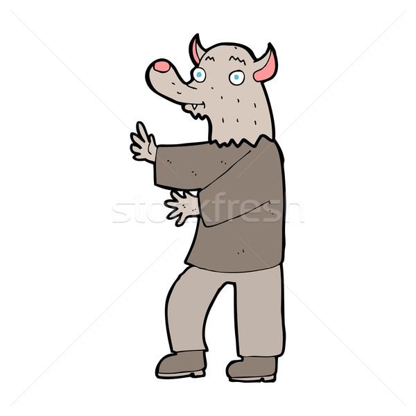 Karikatür kurt adam dizayn sanat kurt Retro Stok fotoğraf © lineartestpilot