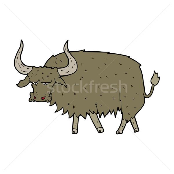 Cartoon agacé poilue vache main design Photo stock © lineartestpilot