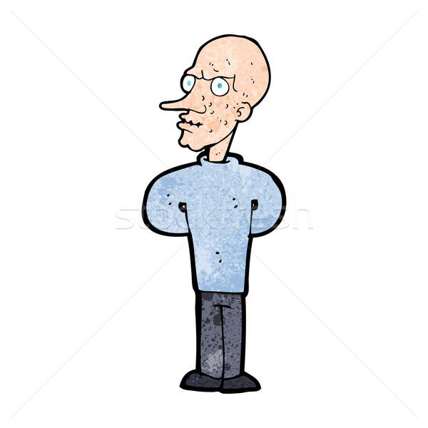 Cartoon mal chauve homme main design Photo stock © lineartestpilot