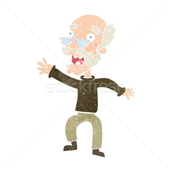 Cartoon bange oude man hand man ontwerp Stockfoto © lineartestpilot