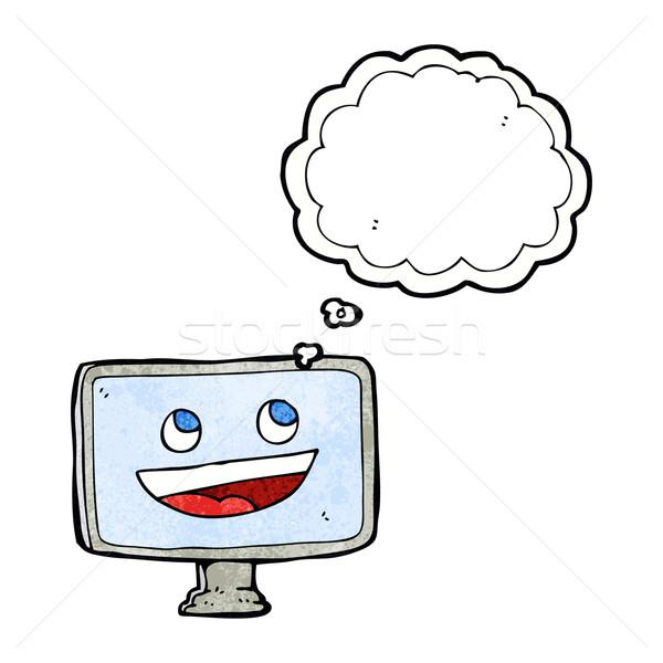 Cartoon экране компьютера мысли пузырь стороны дизайна Crazy Сток-фото © lineartestpilot