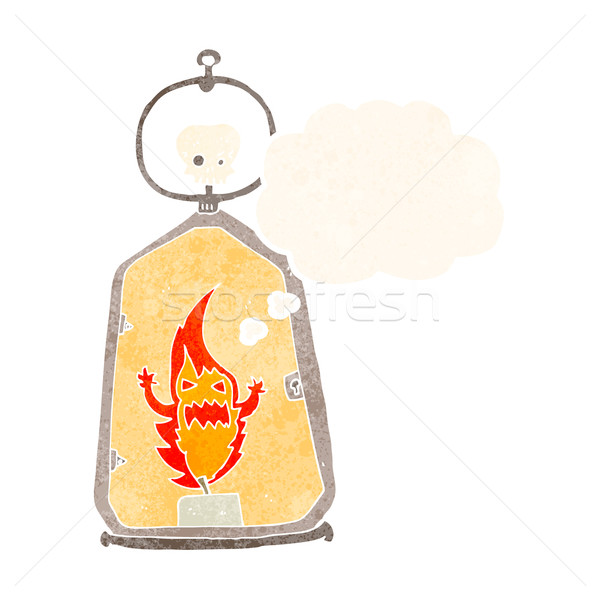 cartoon spooky lantern with thought bubble Stock photo © lineartestpilot