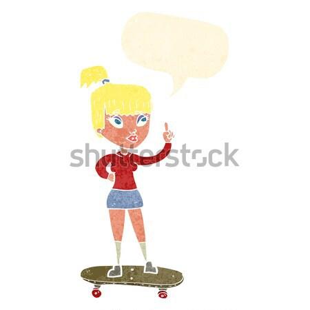 Cartoon skater ragazza bolla di pensiero donna mano Foto d'archivio © lineartestpilot