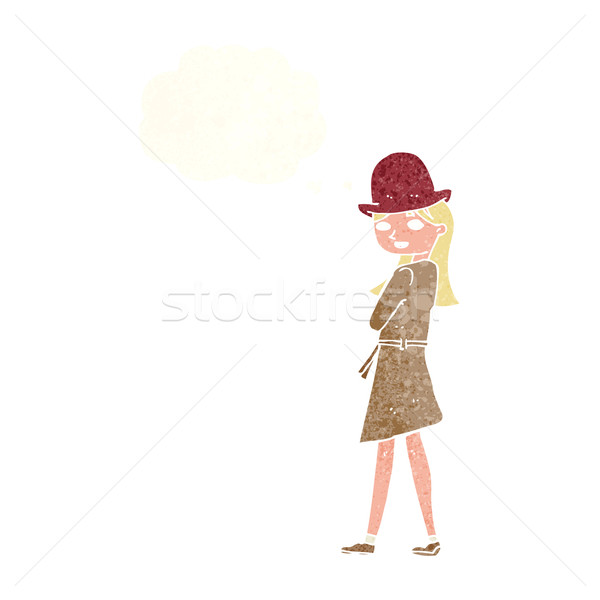 Cartoon Homme espion bulle de pensée femme main Photo stock © lineartestpilot