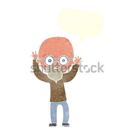 Rajz hangsúlyos kopasz férfi gondolatbuborék kéz Stock fotó © lineartestpilot