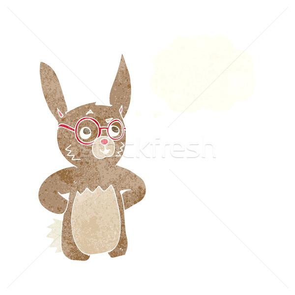 Cartoon conejo gafas burbuja de pensamiento mano Foto stock © lineartestpilot